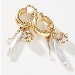 Anthro Adora Hoop Earrings - Pearl